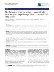 Risk factors of brain metastases in completely resected pathological stage IIIA-N2 non-small cell lung cancer