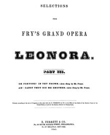 Partition Aria: Ah! Canst Thou Bid Me Smother, Leonora, Lyrical drama