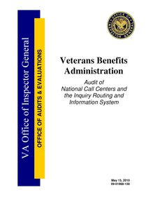 Department of Veterans Affairs Office of Inspector General Audit of  National Call Centers and the Inquiry