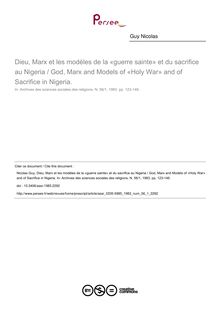 Dieu, Marx et les modèles de la «guerre sainte» et du sacrifice au Nigeria / God, Marx and Models of «Holy War» and of Sacrifice in Nigeria. - article ; n°1 ; vol.56, pg 123-146