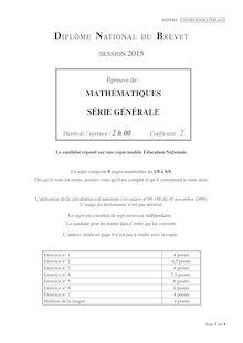 Brevet DNB 2015 Mathématiques
