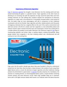 Importance of Electronic Cigarettes