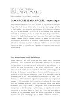 Définition de : DIACHRONIE /SYNCHRONIE, linguistique