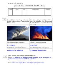 Contrôle de SVT 4e : le volcanisme et les séismes