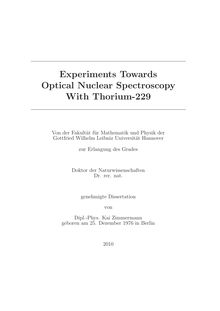 Experiments towards optical nuclear spectroscopy with thorium-229 [Elektronische Ressource] / Kai Zimmermann