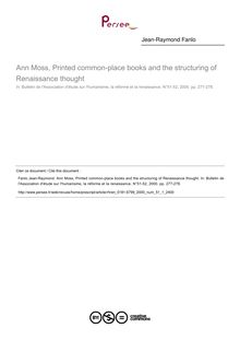Ann Moss, Printed common-place books and the structuring of Renaissance thought  ; n°1 ; vol.51, pg 277-278