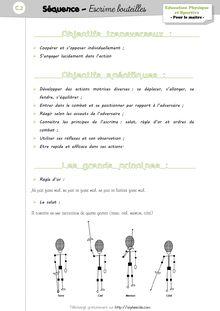 EPS CP/CE1 – Unité d'apprentissage «Escrime bouteille» - La préparation de séquence