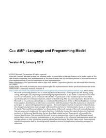 C++ AMP : Language and Programming Model v0.9