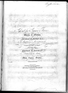 Partition Vocal Score, Sigh not pour Summer Flowers, D major, Bayly, Thomas Haynes