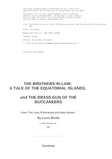 The Brothers-In-Law: A Tale Of The Equatorial Islands; and The Brass Gun Of The Buccaneers - 1901