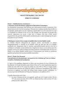 Baccalauréat SES 2016 - Série ES, épreuve composée