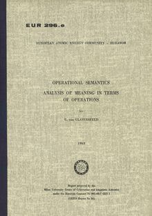 OPERATIONAL SEMANTICS ANALYSIS OF MEANING IN TERMS OF OPERATIONS