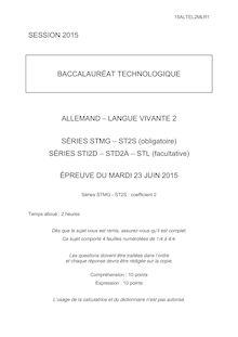 Bac 2015 - Allemand LV2 - Techno