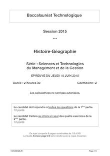 Bac 2015 - Histoire-Geo - Bac STMG