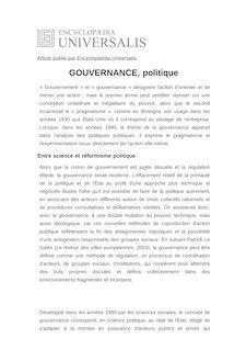 Définition de : GOUVERNANCE, politique - David ALCAUD