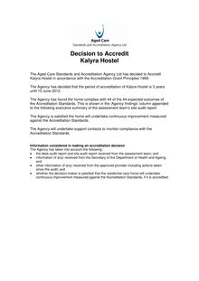 AC I1.1 Published decision - decision to accredit - site audit