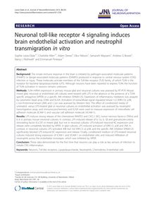 Neuronal toll-like receptor 4 signaling induces brain endothelial activation and neutrophil transmigration in vitro