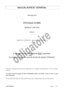 Baccalauréat Physique-Chimie 2016 - Série S, obligatoire
