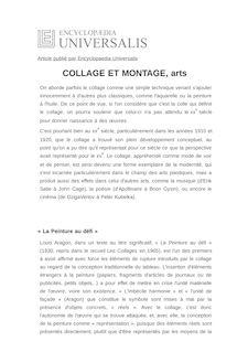 Définition et synonyme de : COLLAGE ET MONTAGE, arts - PATRICK DE HAAS