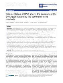 Fragmentation of DNA affects the accuracy of the DNA quantitation by the commonly used methods