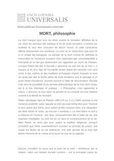Définition de : MORT, philosophie