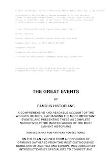 The Great Events by Famous Historians, Volume 01