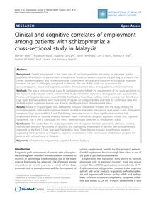 Clinical and cognitive correlates of employment among patients with schizophrenia: a cross-sectional study in Malaysia