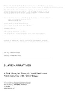 Slave Narratives: a Folk History of Slavery in the United States - From Interviews with Former Slaves - Kentucky Narratives