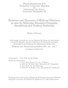 Structure and dynamics of hydrous silica(tes) as seen by molecular dynamics computer simulations and neutron scattering [Elektronische Ressource] / Markus Pöhlmann