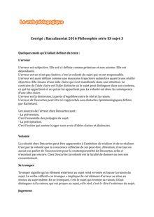 Baccalauréat Philosophie 2016 - Série ES - Sujet 3