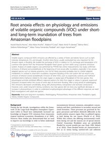 Root anoxia effects on physiology and emissions of volatile organic compounds (VOC) under short- and long-term inundation of trees from Amazonian floodplains