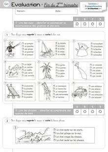 Evaluations Etude de la langue / Lecture CE1 – 4ème période - Lecture