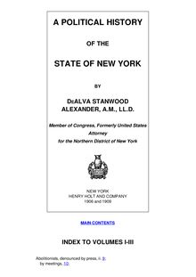 A Political History of the State of New York, Volumes 1-3