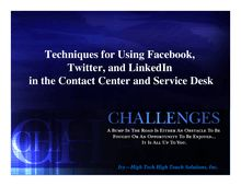 Techniques for Using Facebook, Twitter, and LinkedIn  in the ...