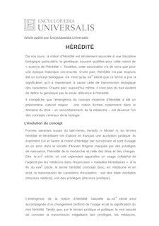 Définition de : HÉRÉDITÉ - Jean GAYON