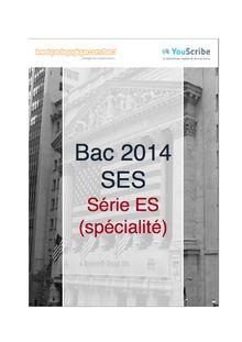 Corrigé bac 2014 - Série ES - Sciences économiques et sociales (spécialité)