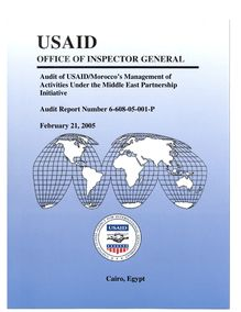 Audit of USAID Moroccos Management of Activities Under the Middle East Partnership Initiative