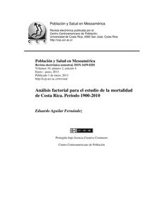 Análisis factorial para el estudio de la mortalidad de Costa Rica. Periodo 1900-2010 (Factor analysis to the study of the mortality of Costa Rica. period 1900-2010)