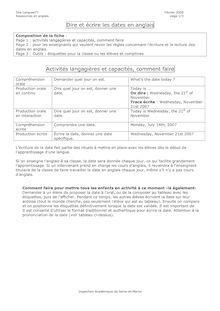 Dire et écrire les dates en anglais - cours anglais CM2