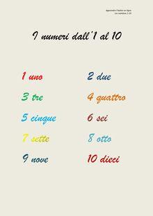 I numeri dall'1 al 10 - Apprendre l'italien en ligne