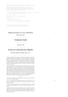 Transactions of the American Society of Civil Engineers, vol. LXX, Dec. 1910 - Tests of Creosoted Timber, Paper No. 1168