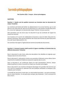 Baccalauréat Français 2016 - Séries technologiques - Questions