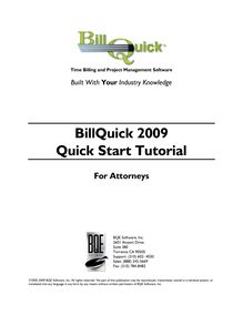 BillQuick 2009 Quick Start Tutorial