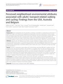 Perceived neighborhood environmental attributes associated with adults' transport-related walking and cycling: Findings from the USA, Australia and Belgium