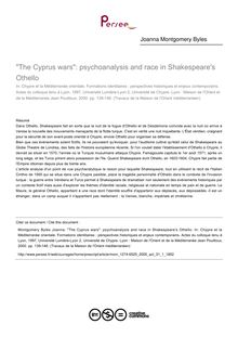 The Cyprus wars: psychoanalysis and race in Shakespeare