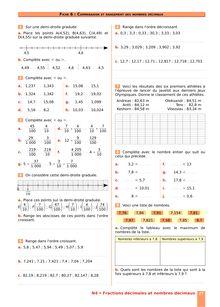 Chapitre N4 CM2 : Fractions décimales, nombres décimaux : Comparer, ranger des nombres décimaux