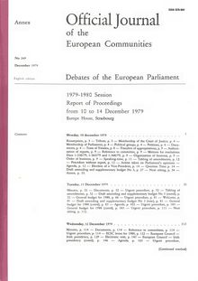 Official Journal of the European Communities Debates of the European Parliament 1979-1980 Session. Report of Proceedings from 10 to 14 December 1979