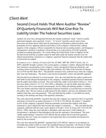 "Client alert  second circuit holds that mere auditor ""review"" of"