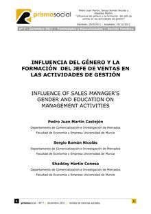 7. INFLUENCIA DEL GÉNERO Y LA FORMACIÓN DEL JEFE DE VENTAS EN LAS ACTIVIDADES DE GESTIÓN (INFLUENCE OF SALES MANAGER'S  GENDER AND EDUCATION ON MANAGEMENT ACTIVITIES)
