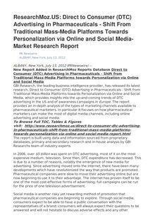 ResearchMoz.US: Direct to Consumer (DTC) Advertising in Pharmaceuticals - Shift From Traditional Mass-Media Platforms Towards Personalization via Online and Social Media- Market Research Report